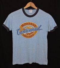 Rare Vtg 80s Montana Tri-blend Rayon Heather Blue Ringer Thin Soft T-shirt S