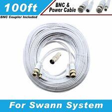 WHITE PREMIUM 100Ft CCTV SURVEILLANCE BNC EXTENSION CABLES FOR SWANN SYSTEMS