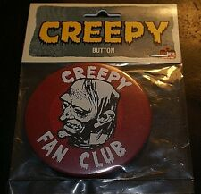 "Creepy Official 3"" Fan Club  Button Badge Metal Pin Rare HTG OOP New Horror"
