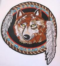 Wolf Aufnäher Patch Backpatch Indianer Feder Rückenaufnäher Jumbo  xxL