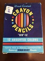 12 Vintage Venus Coloring Crayon Pencils In Original Box 019-12 Unused USA