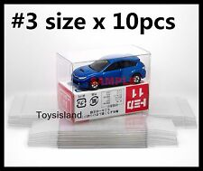 TOMICA SIZE #3 PROTECTIVE CLEAR PLASTIC BOX 10 PCS DIECAST CAR NEW TOMY