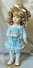 "K&H 326 Kley & Hahn Antique Reproduction 14"" Doll Blue Bustle Dress Curly Blonde"