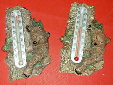 "2 Indoor-Outdoor Analog Ceramic ""Bear On Tree"" 4"" Inch Thermometers by Acurite"