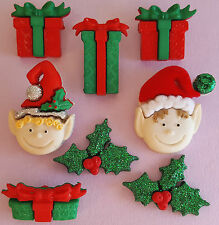 CHRISTMAS ELVES - Santa Elf Present Gift Box Holly Dress It Up Craft Buttons