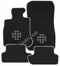 Für BMW 1er E82 Fußmatten Velours Deluxe schwarz mit Stick Eisernes Kreuz