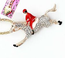 Betsey Johnson Race Horse Red Rider Brooch Pendant Charm Necklace Free Gift Bag