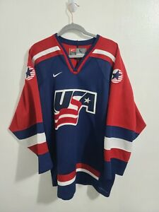 Vtg Nike Team USA Olympic Hockey Sewn Blue Red White Jersey Mens Size L
