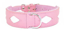 Pink Staffy Staffie Dog Collar White Diamond Shapes To Fit 19 - 22 Inch Neck
