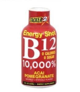 B12 Energy Shot Case of 8 Stacker Acai Pomegranate Sealed Brand New 2 oz