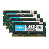 4x Crucial 8GB 2RX8 PC3-10600S DDR3 1333MHz 204pin Sodimm Laptop Memory RAM @5H