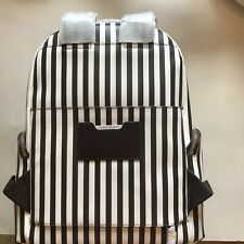 Henri Bendel West 57th Centennial Stripe Travel Backpack Brown White Leather