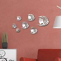 7Pcs Removable 3D Fish Mirror Wall Stickers DIY Wall Mural Decal Room Home Decor