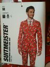 Men's Ugly Christmas Suit Suitmeister Santa Cool Red trees coat pants tie New