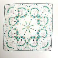 Vintage 1940's Children's Handkerchief Ballerina with Pink & Green Flowers