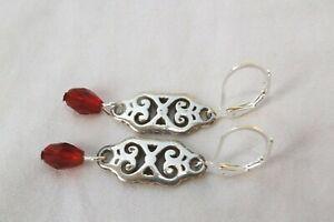 Altered Brighton Geneva Silver Charm Dangle Red Crystal On Lever Back Earrings