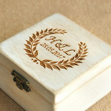 Personalized Engraved Wooden Ring Box Custom Your Initials and Date Bearer Box