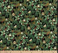 Festive Chickadees Pine Fabric Christmas  Benartex  By the Yard  BFab