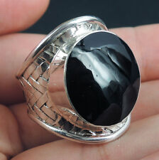 BLACK SHELL 925 Sterling Silver Ring Jewellery, Size U-UK 10.5-USA