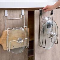 Kitchen Over Door Cabinet Pot Pan Cover Organizer Rack  Lid Holder Storage Rack