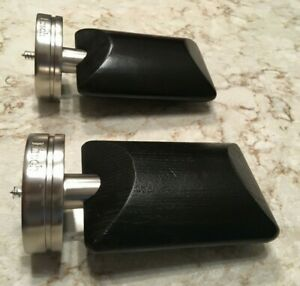 SILVER metal BRUSHED NICKEL Black Wood FINIALS for curtain ROD draperies F401