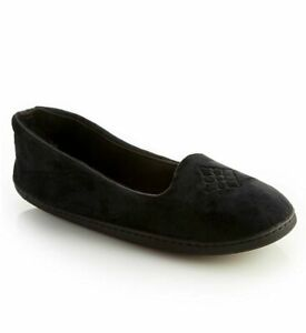 Dearfoams Women's Rebecca Microfiber Velour  Slipper, Black, Size X-Large