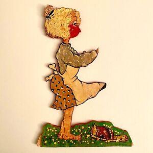 Laubsägearbeit 1940er Heymentl Pustebacken-Frau 25cm Karrikatur Cartoon Holz ALT