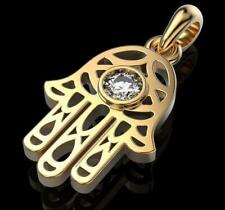 Solid Yellow Gold Hamsa fatima 0.10 Ct Round Cut Moissanite Diamond Only Pendant