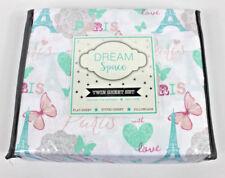 Dream Space Twin 3 pc Sheet Set Kids Girl New Paris Butterfly Eiffel Tower Heart