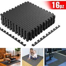 Tappeto Puzzle Tappetino Fitness Palestra Multiuso Schiuma EVA 16pz 60x60cm Nero
