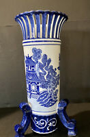"Hand Painted Blue and White Floral Chinese Porcelain Vase Fine China 15""H Fluted"