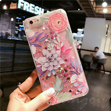 For iPhone 7Plus 3D Ptinted Flower Liquid Glitter Latest Design Clear Case Cover