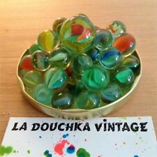 FRENCH 1970s CAT EYES & CLEAR GLASS MARBLES - LOT OF 40 & TAW - TIMELESS GAME !