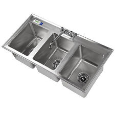 stainless steel drop in sink 3 commercial three compartment 10 x 14 x 10 nsf - Three Compartment Kitchen Sink