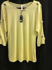 Ethyl Clothing Yellow Open Arm Blouse Size L. Retail $49 Free Shipping