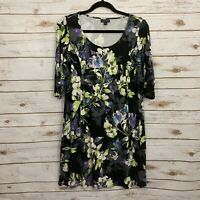 J Jill Wearever Collection Floral 3/4 Length Sleeve Midi Dress Size Small Petite