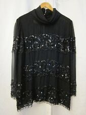 Vtg Sheer Black Floral Beaded Cowl Neck Striped Blouse L/S Women's Top Sz 14