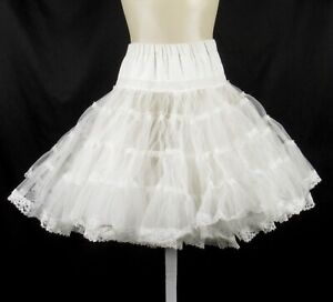 Vintage Sams Lace Ruffle CRINOLINE Petticoat Full Half Skirt L XL Tiered Netting