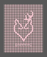 Browning Buckheart Throw, Pink Gray Check Buck Doe Heart Mink Sherpa Blanket