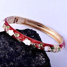Womens Yellow Gold Filled White Flower Fashion  Red Enamel Bangle Cuff Bracelet