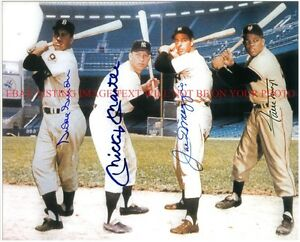 MICKEY MANTLE DUKE SNIDER JOE DIMAGGIO WILLIE MAYS SIGNED AUTOGRAPH RP PHOTO