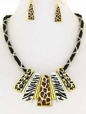 Chunky Animal Charm Gold Silver Earring Necklace Set Fashion Costume Jewelry