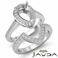 Diamond Engagement Halo Pave Ring Pear Bridal Sets 14k Gold White Setting 0.92Ct