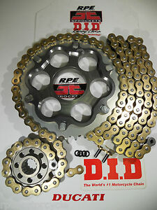 2009-2011 DUCATI 1198 R/S  DID ZVMX 525 GOLD CHAIN AND SPROCKETS KIT w/ Carrier