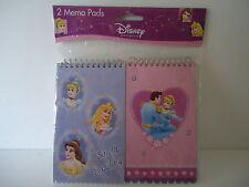 """Disney Princess 2 Memo Pads 3"""" x 5"""" ~  NEW GR8 Gift 4 a Disney Princess fan"""