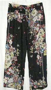 New PHILOSOPHY Neiman Marcus Womens Size XL Black Floral Crepe Wide Leg Pants