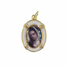 2.5cm gold white Our Lady of Guadalupe medal Catholic pendant for rosary beads