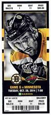 Patrice Bergeron Boston Bruins Signed Autographed 2014-15 vs Wild Ticket - S11