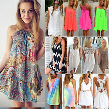 Women's Holiday Sleeveless Short Mini Dress Casual Beach Party Chiffon Sundress