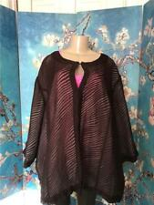 Maggie Barnes Plus 4X Brown Sheer Textured Ivory Lined  3/4 Sleeve Tunic Jacket